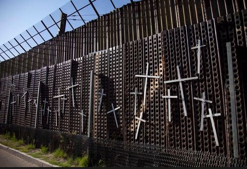 A section of the U.S. Border fence in Nogales, AZ where migrants have died trying to cross.