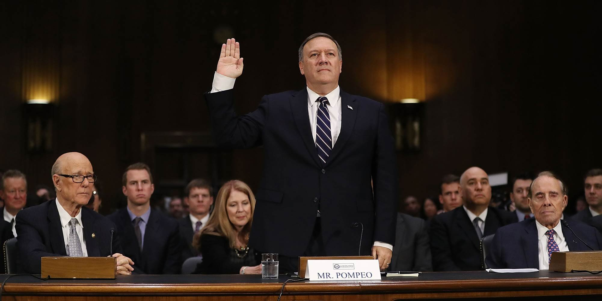 U.S. President-elect Donald Trump's nominee for the director of the CIA, Rep. Mike Pompeo (R-KS) is sworn in at his confirmation hearing before the Senate (Select) Intelligence Committee.