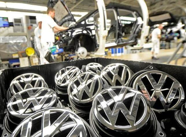 VW emblems at a Volkswagen production line in Wolfsburg, Germany. Fabian Bimmer / Reuters file