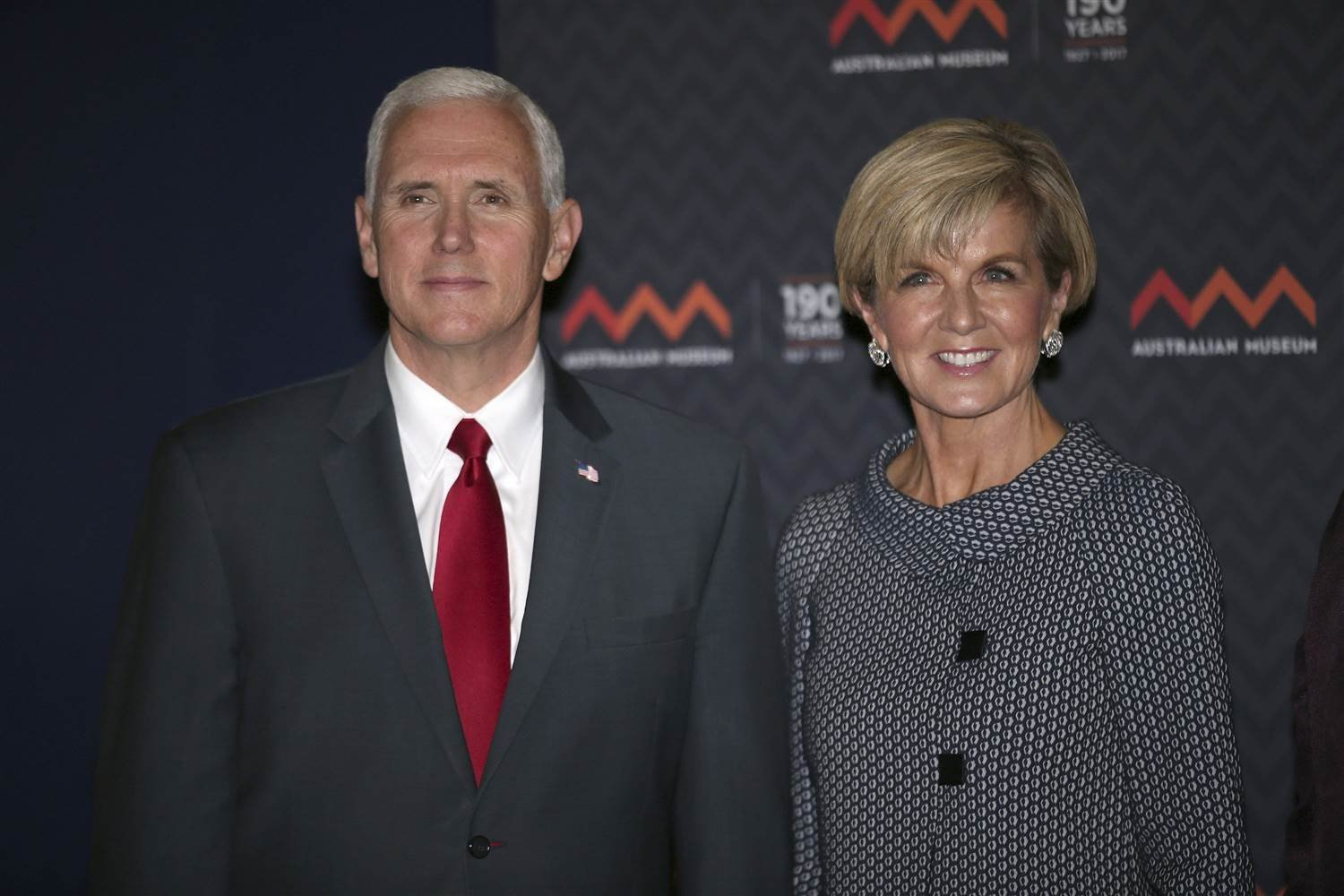 Vice President Mike Pence and Australian Foreign Minister Julie Bishop pose for a photo during a visit to the Australian Museum in Sydney, Saturday, April 22. David Moir / AP