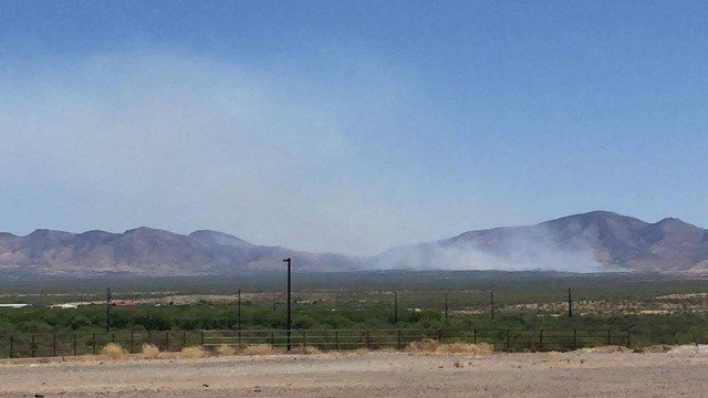 Wind driving wildfire in southern Arizona