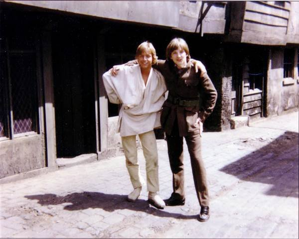 """Mark Hamill, who played Luke Skywalker, and Derek Lyons, who played a temple guard, while filming """"Star Wars"""" in 1976. Courtesy of Derek Lyons via NBC"""