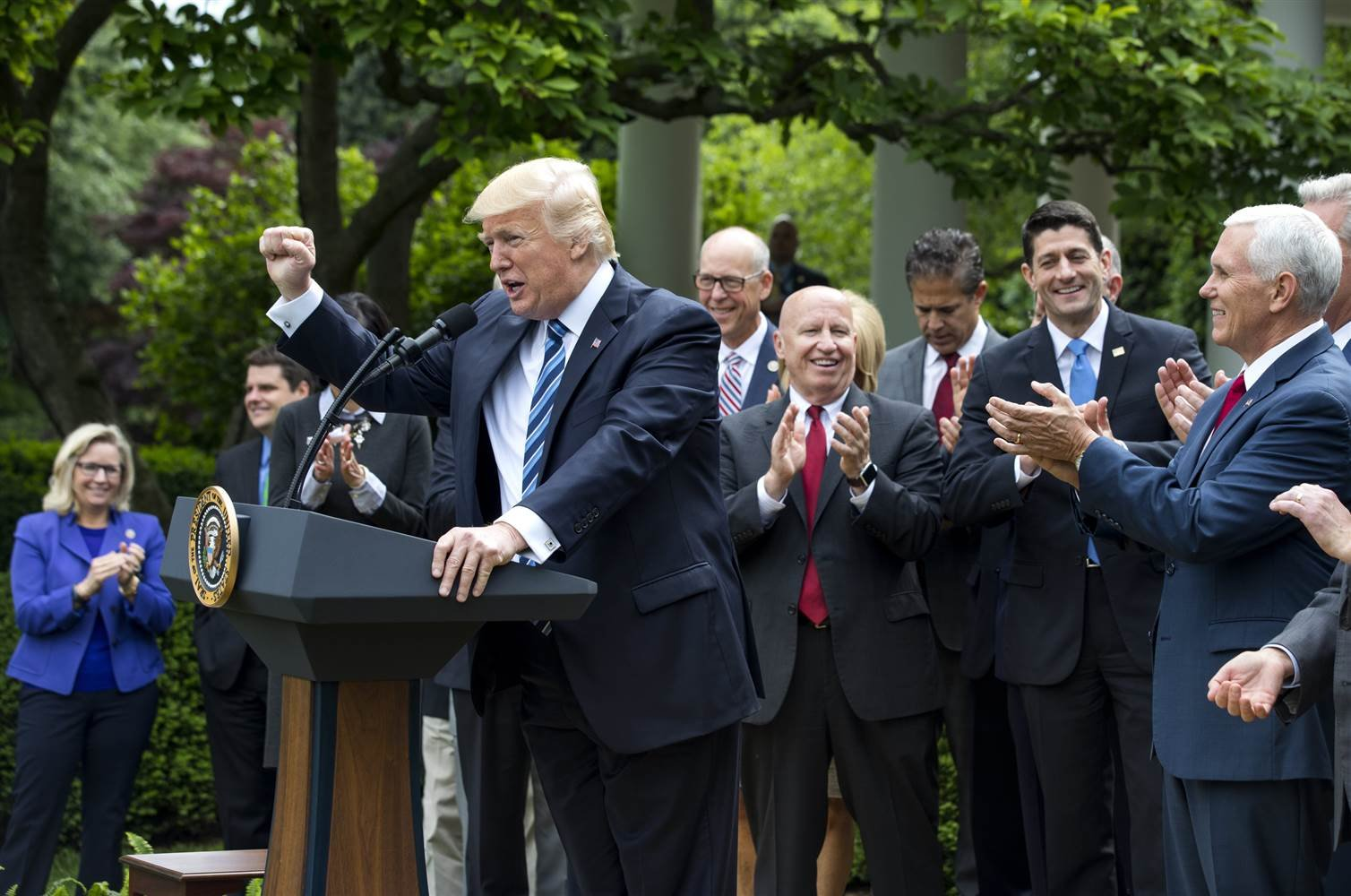 US President Donald J. Trump, along with GOP lawmakers, speaks after the House voted to repeal and replace Obamacare with a Republican version of the health care law in the Rose Garden of the White House in Washington on May 4, 2017. - Jim Lo Scalzo / EPA