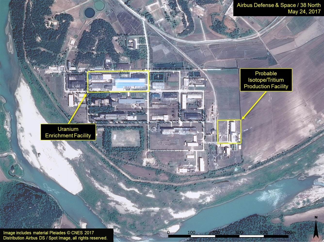 A satellite image of the radiochemical laboratory at the Yongbyon nuclear plant in North Korea. (Reuters)