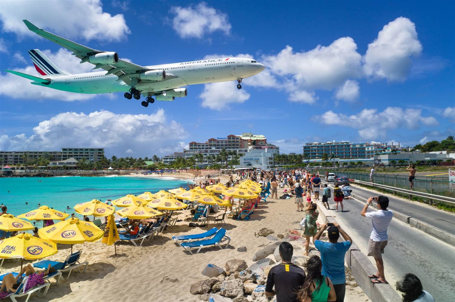 A commercial airliner lands at Princess Juliana International Airport on St. Maarten. (Adam Mukamal / Getty Images file)