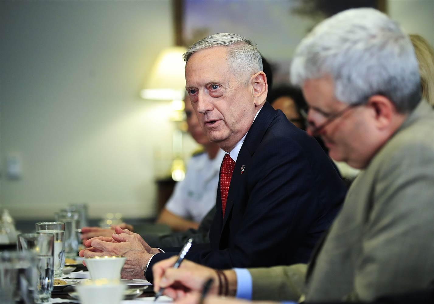 Defense Secretary Jim Mattis speaks during his meeting with Italy's Defense Minister Roberta Pinotti on July 11, 2017, at the Pentagon. (Manuel Balce Ceneta / AP)