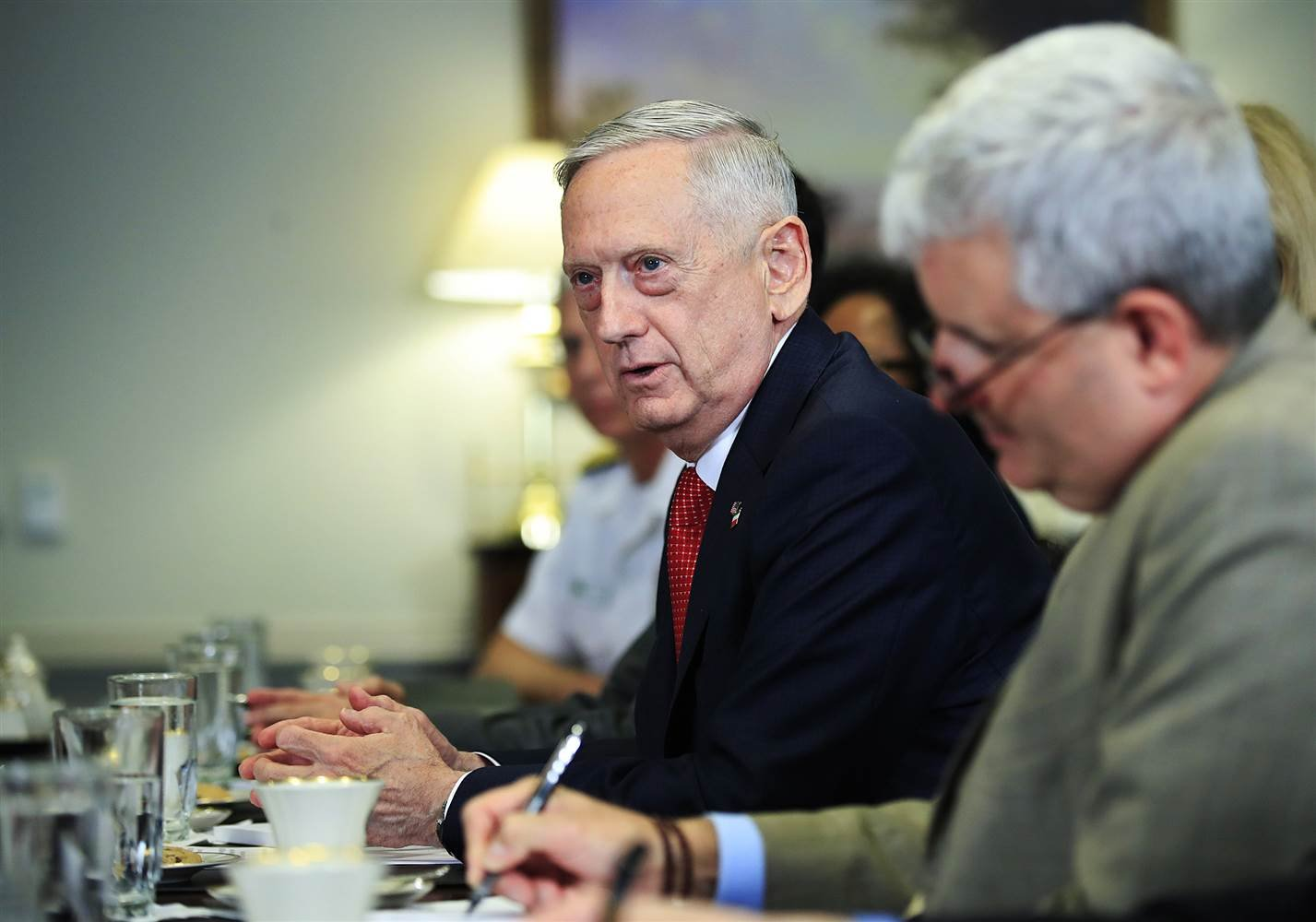 Defense Secretary Jim Mattis speaks during his meeting with Italy's Defense Minister Roberta Pinotti on July 11, 2017, at the Pentagon. (Manuel Balce Ceneta / AP)