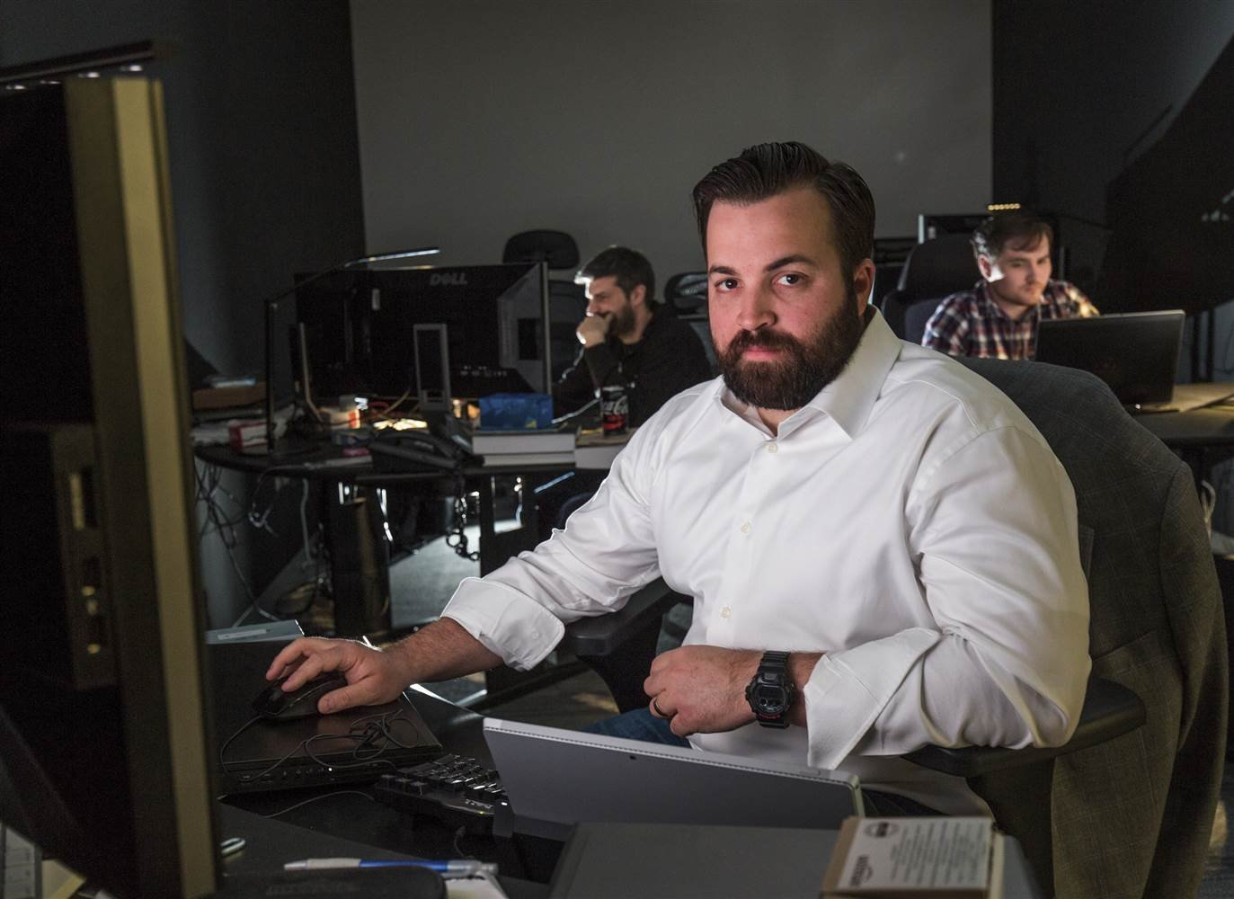 John Hultquist, Senior Manager for Cyber Espionage Threat Intel at iSight, works in the firm's Black Room, where vulnerability analysis is performed. (Brooks Kraft / Corbis via Getty Images)