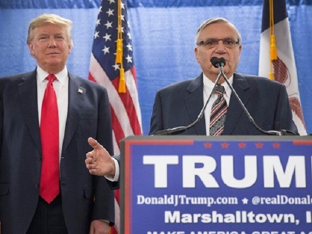 Sheriff Joe Arpaio of Maricopa County, Arizona endorses Republican presidential candidate Donald Trump prior to a rally on January 26, 2016 in Marshalltown, Iowa. Photo: Getty Images via 12 News