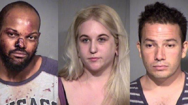 Daireus Latravus Stokes (from left), Pamela Ann Robertson and Derrick Gilbert Pacheco. Photo: Maricopa County Sheriff's Office via KPNX
