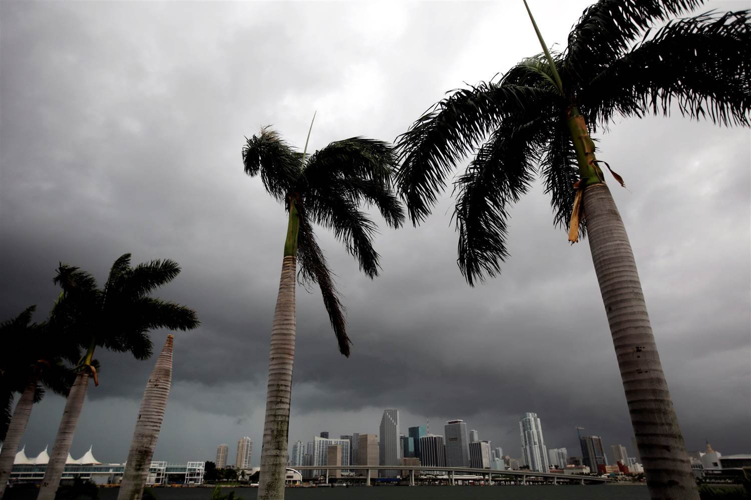 Dark clouds are seen over Miami's skyline prior to the arrival of Hurricane Irma to south Florida, U.S. Saturday. (CARLOS BARRIA / Reuters)
