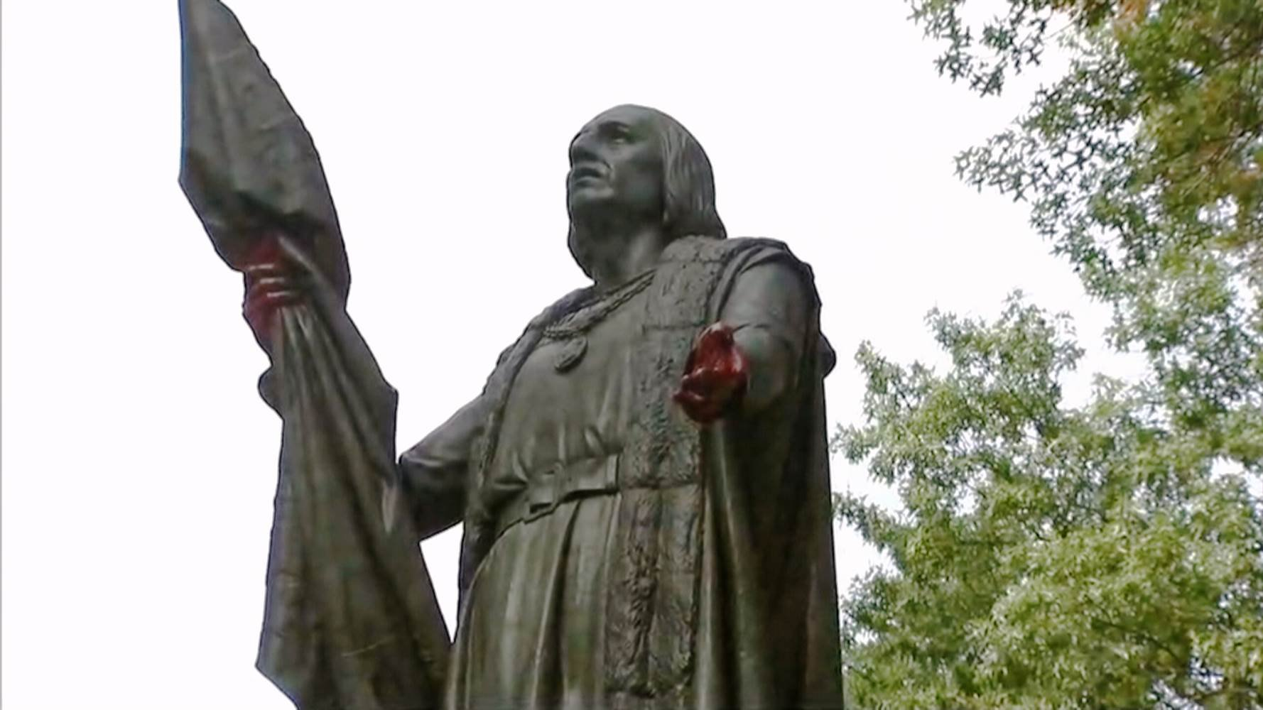 A statue of Christopher Columbus was vandalized in Central Park in New York. NBC News