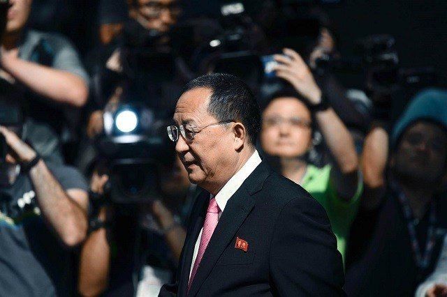 North Korean Foreign Minister Ri Yong Ho in New York on Sept. 25, 2017. Jewel Samad / AFP - Getty Images via NBC