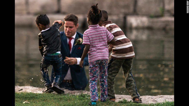 Groom turns hero when child gets pushed in river