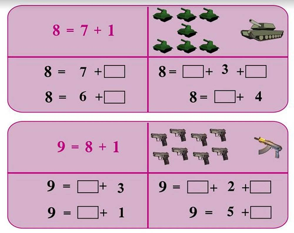 A diagram shows images of weapons that were used to help teach children basic arithmetic in an ISIS schoolbook. (NBC News)