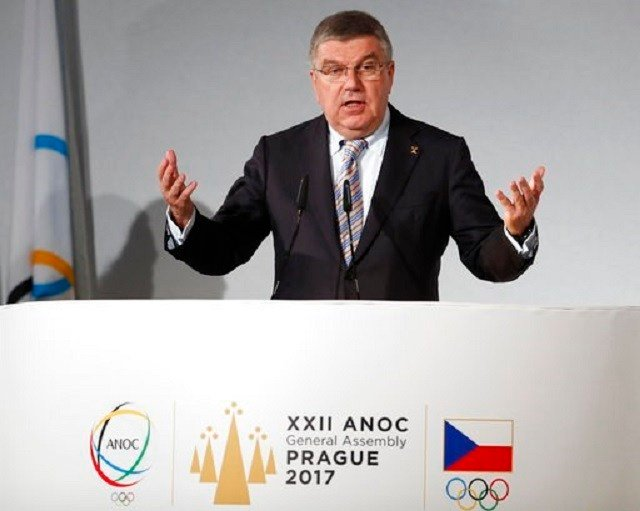 IOC President Thomas Bach addresses delegates during the general assembly of the Association of National Olympic Committees (ANOC) in Prague, Czech Republic, Thursday, Nov. 2, 2017. (AP Photo/Petr David Josek).