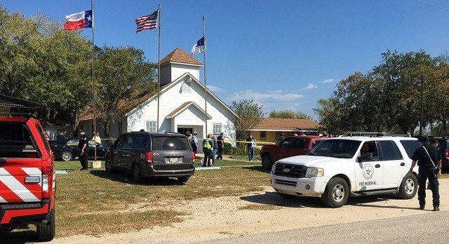Emergency personnel respond to a fatal shooting at First Baptist Church in Sutherland Springs, Texas, Sunday, Nov. 5, 2017. KSAT / via AP