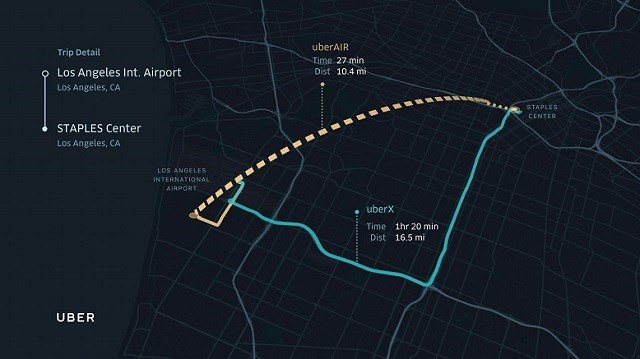 A sample trip from Los Angeles International Airport to the Staples Center in downtown Los Angeles. Courtesy Uber via NBC