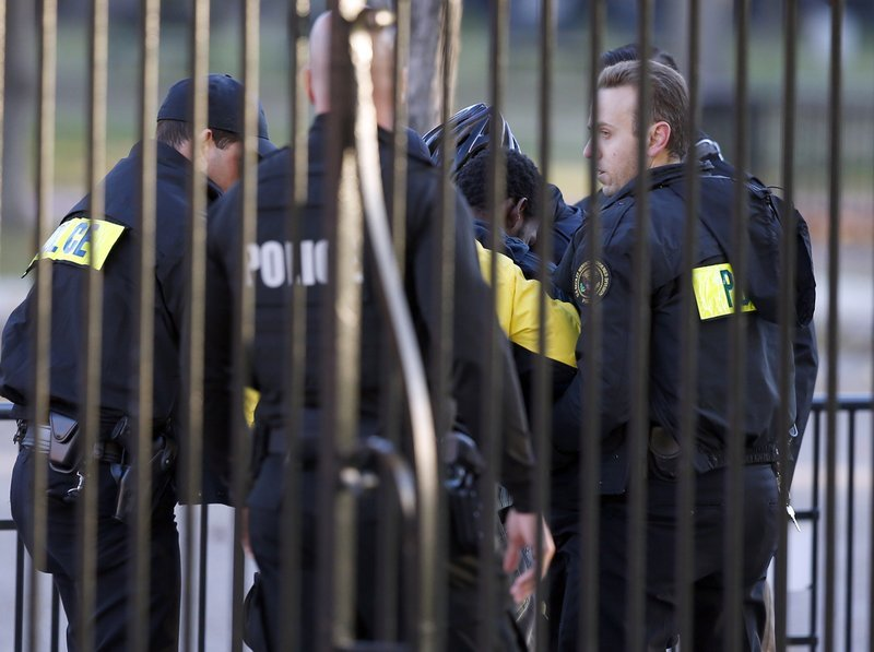 A man is taken into custody by officers of the Uniform Division of the U.S. Secret Service after he the jumped bike rack security barrier on the Pennsylvania Avenue side of the White House, Sunday, Nov. 19, 2017, in Washington. (AP Photo/Alex Brandon)