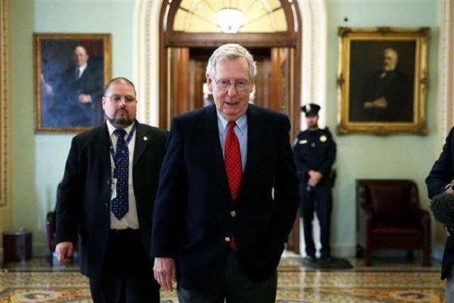U.S. Senate Majority Leader Sen. Mitch McConnell (R-KY) walks from the Senate chamber to his office on Dec. 1 at the Capitol in Washington, DC. Alex Wong / Getty Images