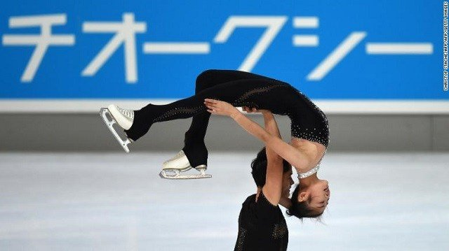 Ryom Tae Ok and Kim Ju Sik of North Korea perform during their pairs free skating program of the 49th Nebelhorn trophy figure skating competition in Oberstdorf, Germany, in September. (Source: CNN).