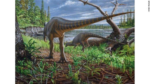 An artist's impression of Diluvicursor pickeringi foraging on the bank of a river in the Australian-Antarctic rift valley. (Photo: CNN)