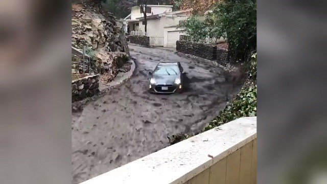 Prius takes wild ride on mudslide in California