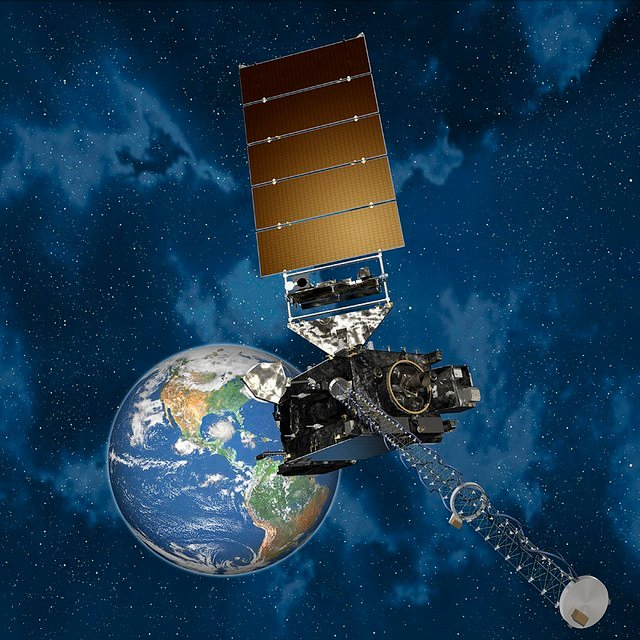 Artist's rendering of the GOES-R spacecraft in orbit with Earth in the background.    Credit: Lockheed Martin