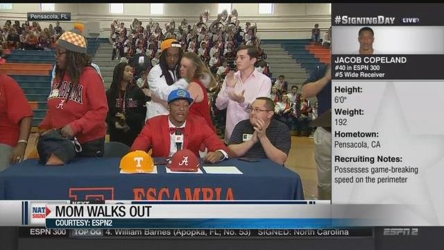 Stealing his mom-ent? In signing day stunt, Mom storms off