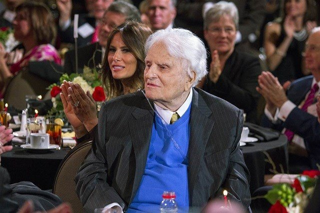 Billy Graham is pictured during a celebration for his 95th birthday in Asheville, North Carolina, in this November 7, 2013 handout photo. (C) Handout . / Reuters / Reuters (Photo via NBC)