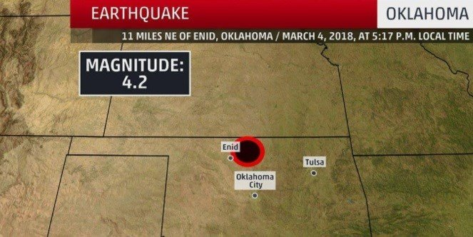Moderate natural disaster  shakes Oklahoma, felt in Kansas