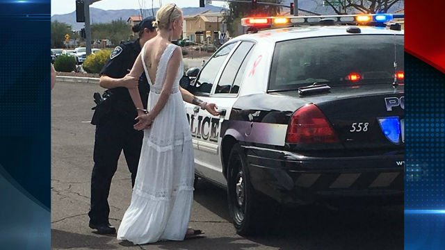 Impaired bride crashes on her way to her wedding