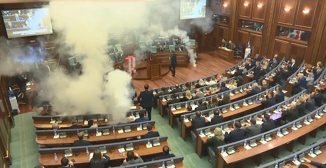 Members use tear gas to block vote in Kosovo parliament