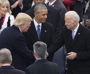 Donald Trump and Joe Biden shake hands at the Presidential Inauguration. John Makely / NBC News File