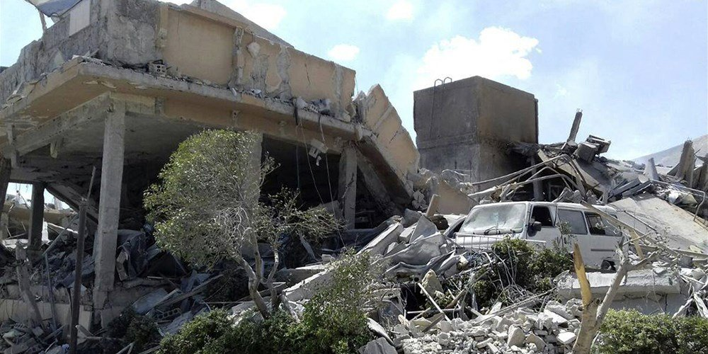 Damage to the Syrian Scientific Research Center after it was attacked by U.S., British and French military strikes to punish Syrian President Bashar Assad for suspected chemical attack against civilians, in Barzeh, near Damascus, Syria, on April 14, 2018.