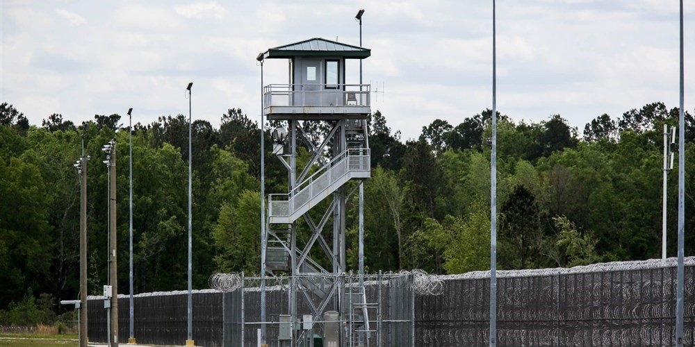 The Lee Correctional Institution in Bishopville, South Carolina, remained on lockdown on Monday after an overnight riot killed seven.Logan Cyrus / AFP - Getty Images