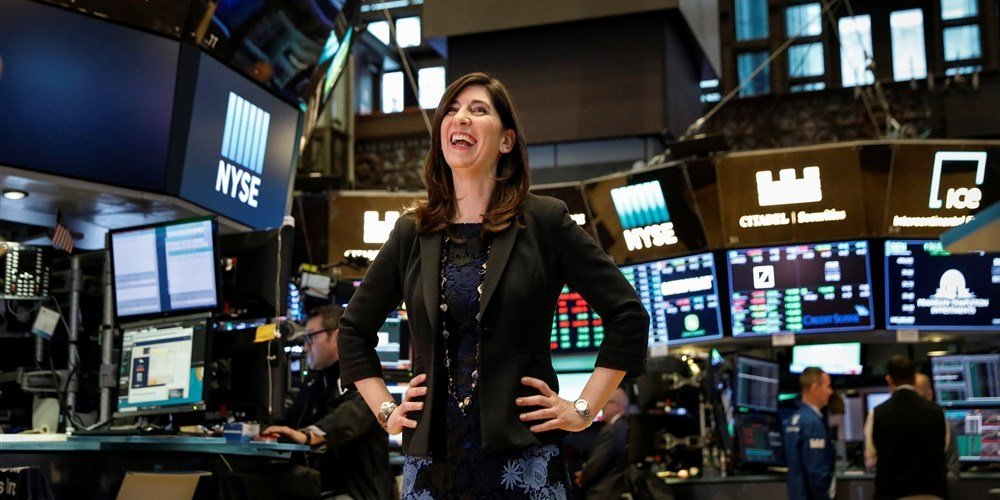 New York Stock Exchange (NYSE) Chief Operating Officer Stacey Cunningham, who will be the NYSE's first female president, poses on the floor of the NYSE in New York, May 22, 2018.(Brendan McDermid / Reuters)