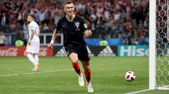 van Perisic of Croatia celebrates after scoring his team's first goal during the 2018 FIFA World Cup Russia Semi Final match between England and Croatia at Luzhniki Stadium on July 11, 2018 in Moscow, Russia. (Photo by Ryan Pierse/Getty Images) CNN