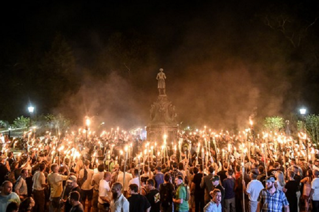 hite nationalists participate in a torch-lit march on the grounds of the University of Virginia ahead of the Unite the Right Rally in Charlottesville, Virginia on Aug. 11, 2017.Stephanie Keith / Reuters file