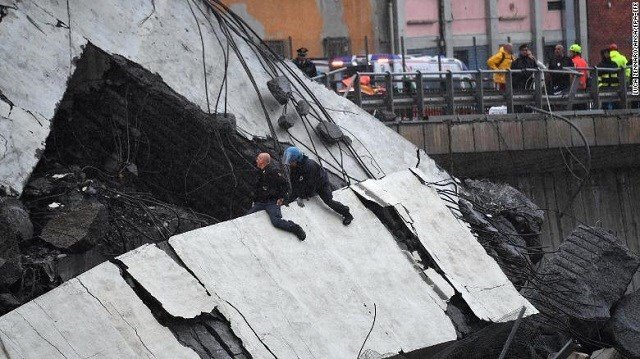 A large section of the Morandi viaduct collapsed Tuesday. (Source: CNN)