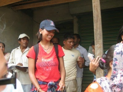 With the earthquakes in Nepal directly relating to her field of study, Shakya jumped at the chance to go home with the non-profit group, Build-Change, to do relief work when the first quake hit.