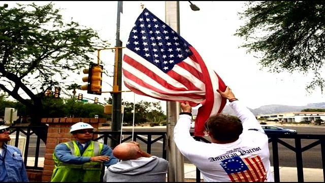 On Saturday, the Flags for the Flagless group will be raising 13 donated flags at the same time.