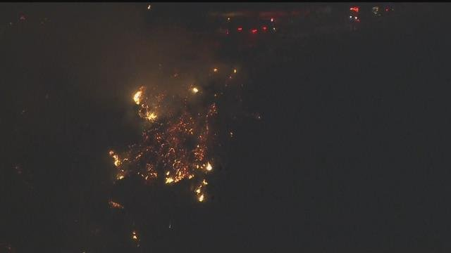 Camp evacuated as brush fire burns in Malibu canyon
