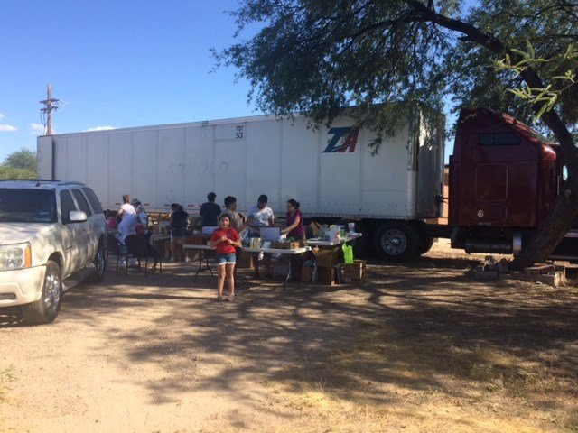 Volunteers filling semi trailer for Mexico earthquake relief