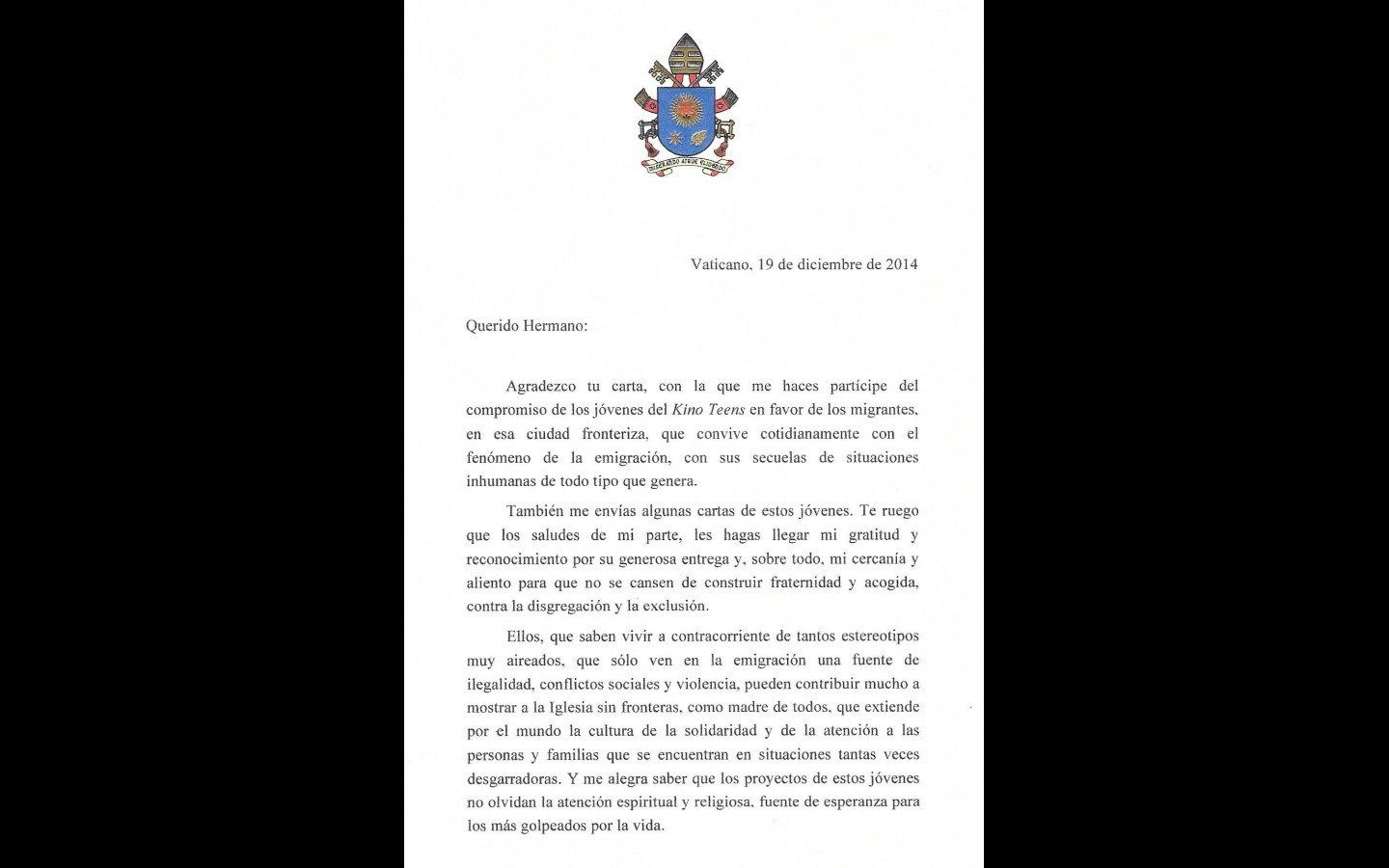 nogales pope francis sent a letter of support to a border group in arizona